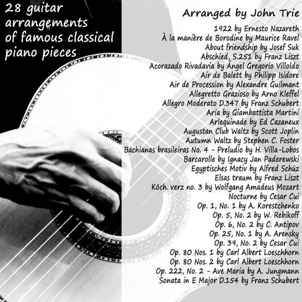 28 guitar arrangements of famous classical piano pieces: Guitar  arrangements of classical piano music