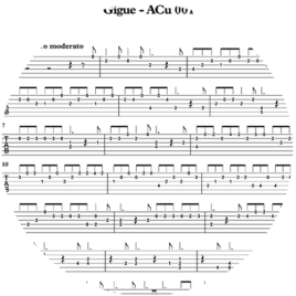 Gigue – ACu 001 by Arcangelo Corelli – Tablature